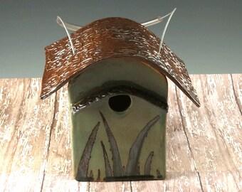 Bird House - Ceramic Garden Art - Home and Garden - Pottery Birdhouse - Ready to Ship - 970