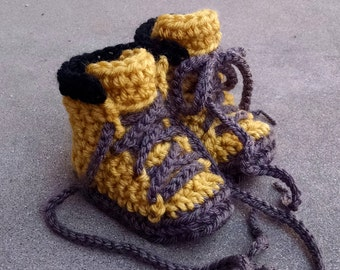 ON SALE, Baby Booties, Construction Boots, Baby Work Boots, Crochet Baby Booties