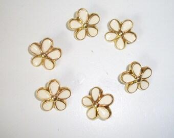 6 Flower Shank Buttons GoldTones Beige Tan