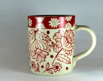 Straight sided stoneware mug, Red and White coffee mug, Hand painted pottery mug SKU 1510-5
