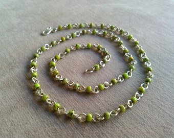 handmade sterling silver chain with green glass beads
