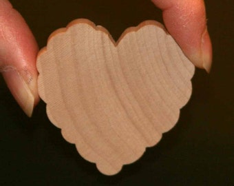 Unfinished Wood Heart Scalloped/Ruffled - 2 inches by 2 inches and 1/4 inch thick wooden shape (WW-WHS202)
