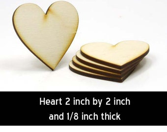 Unfinished Wood Heart - 2 inches tall by 2 inches wide and 1/8 inch thick (HART72)
