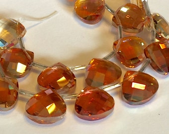 Copper apricot faceted Crystal briolettes flat heart top drilled checker faceted
