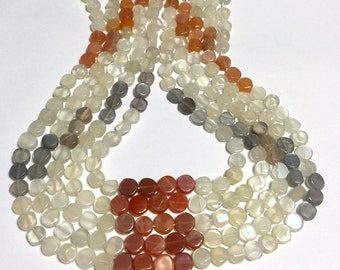 "Multi colored moonstone gemstone shaded coin beads full 14"" stand."
