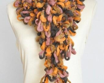 Bubbles - Fall - Crochet Multiclolr Homespun Yarn Long Scarf