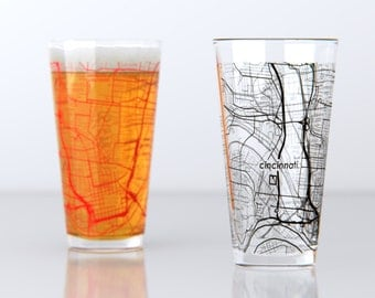 Cincinnati, OH - University of Cincinnati - College Town Pint Map Glasses