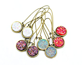 Druzy Earrings Pink Red Druzy Gold Dangles Bright Sparkle Shimmer Luster Grapefruit Pink Everyday High Fashion Style by Mei Faith