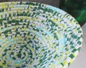 Handmade Coiled Fabric Basket - Dark Green, Neon Yellow, Bright Blue, Handmade by Me
