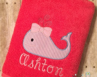 Girly Whale Applique Beach Bath Towel - Personalized, Monogrammed
