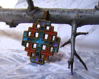 Terra Sancta Guild Colourful Metal Cross Pendant 1969 Israel Beautiful Vintage Design