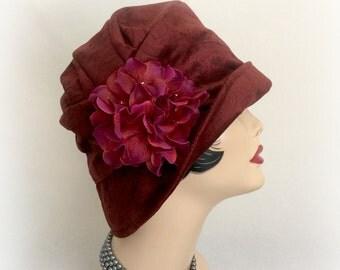 Women's Winter Cloche - Red Velour Cloche- Velour Fabric Cloche - 1920's Clcohe - Downton Abbey Cloche - Warm Winter Cloche - Handmade USA