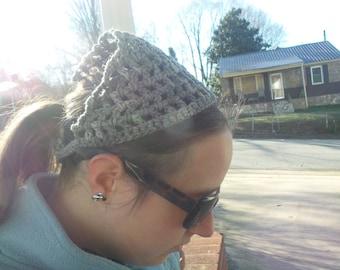 Crochet Kerchief, Bandanna Style Head Scarf, grey colored,grey headscarf,Head kerchief,head scarf