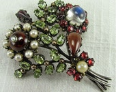 Mid Century Gemstone Flower Brooch