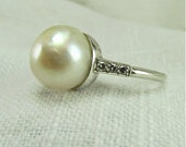 Circa 1950 Cultured Pearl Ring Set in Platinum