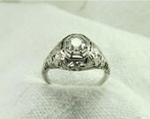 Sale! Circa 1930 .58 Carat Old European cut Diamond Engagement Ring set in 18kt White Gold
