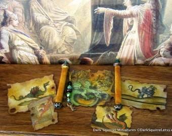 Aged Dragon  Medieval Scroll and Papers dollhouse miniature in one inch scale