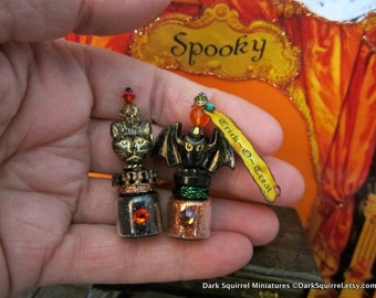 Trick-O-Treat Potions dollhouse miniature, spooky, Halloween, haunted in 1/12 scale