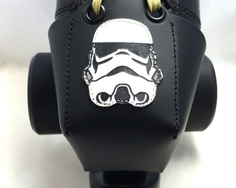 Leather Toe Guards with Stormtrooper Helmet