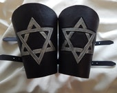 Star of David design leather bracers with buckles, gauntlets, armor