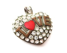 Bronze Tone Metal Word Love with Red Enamel Heart & Clear Rhinestone Puff Heart Vintage Unmarked Statement Pendant