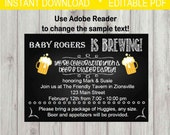 Editable Digital Diapers & Beer Baby Party Invitation INSTANT DOWNLOAD