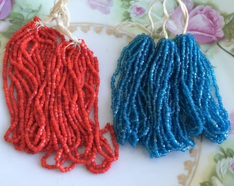 Antique Lot Czech Glass Tassel Fringe New Old Stock Lot of 5 Blue and Red