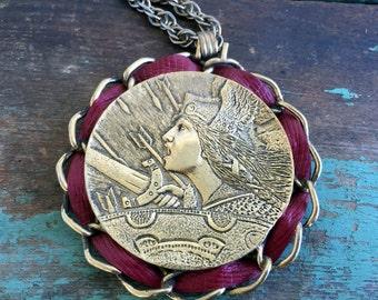 Vintage Pendant Necklace Retro Runway Statement French Gallic War Lady Morlon