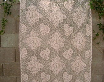 """Vintage Shabby Cottage Chic Prairie Pink Lace Curtain Panel 62"""" x 39"""""""