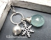 Snowflake Necklace, Snowflake Charm Necklace, Aqua Blue Chalcedony And Pearl