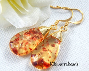 Amber Earrings, Created amber earrings, Wire Wrapped, Drop Earrings, Gold filled ear wires
