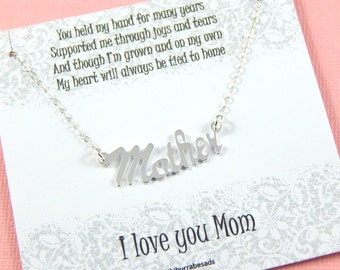 Mother Necklace, Sterling Silver Mother Name Necklace, Necklace for Mom, Gift For Mom, Mothter's Day gift,New Mom Necklace,