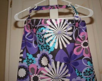 Large Nursing Cover Purple Peony Breastfeeding Cover Floral Michael Miller Pink Blue