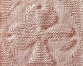 Shamrock Clover towel washcloth quilt block picture knitting pattern - pdf