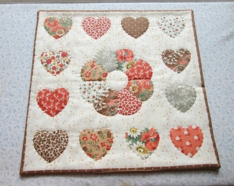 vintage fabric orange brown beige and grey hearts quilted table mat, center piece, wall hanging    you decide its use!