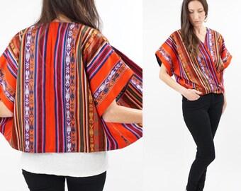 vintage 70s MEXICAN ethnic print WRAP blouse S-L