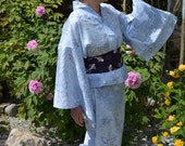 Vintage Japanese Kimono YUKATA - Cool Lightweight Cotton in Blue Indigo Mauve or Ivory Rust Ochre Fine Lilies Hydrangea Mist Go-obi optional