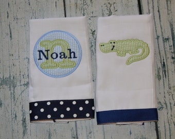 Personalized Alligator Burp Cloth Set of 2 Burpies MONOGRAM