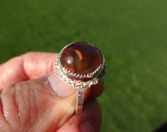 Sterling Silver Fire Agate Ring - Size 9 1/2 - FREE RESIZING