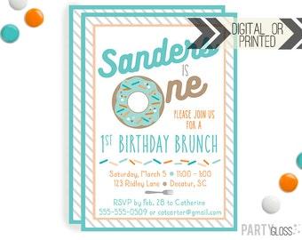 Donut Birthday Invitation - Digital or Printed | Doughnut Invite | Donut Invitation | Boy Doughnut | Donut Party | Donut Birthday|