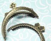 """Purse Frame Antique Bronze Flower Clasp Metal 3 3/8""""x2 3/8"""" (8.5cm x 6cm) - 2 pcs"""