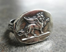Silver Ring Winged Lion of Venice Wax Seal Jewelry