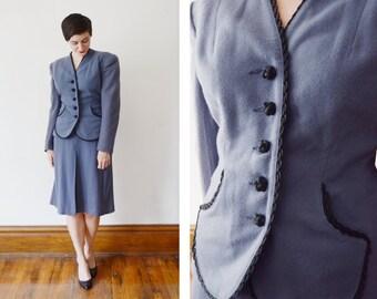 1940s Powder Blue Skirt Suit - M