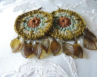 Earth toned cyclic crochet earrings