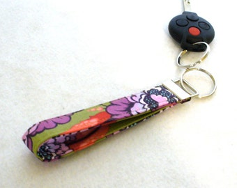 Wristlet Key Fob Tula Pink Fabric Key Fob Keyring Keychain Elizabeth Astraea Floral Plum Purple Olive Salmon Orange MTO