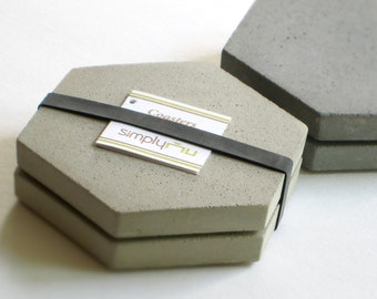 2 CONCRETE Gray HEXAGON COASTERS & Soapstone Chalk—Father's Day Gift, Wedding Registry Host Gift—Beton Dessous-de-verre/Posavasos Negro Gris