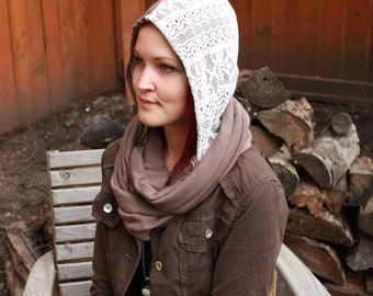 Chestnut Brown Hooded Scarf, Womens Scarves, Fall Scarves, Hoodie Scarves, Hooded Cowl, Hood Scarf, Unique Scarves, Handmade Scarves