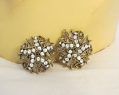 vintage Gold and Rhinestone Clip On Earrings