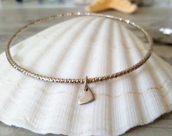 Heart bangle silver tiny heart bracelet stacking layering gift ideas love, kindness, romance