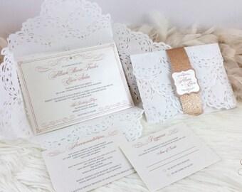 Doily Wedding Invitation / Doily Lace Wedding Invitation / Glitz / Glitter Band / Classy Wedding Invite / Crystal / Gold / Cream / White |